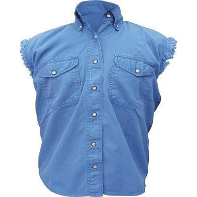 AL2927-Ladies Dark Blue Denim Sleeveless Shirt