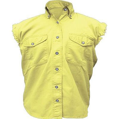 AL2928-Ladies Yellow Denim Sleeveless Shirt