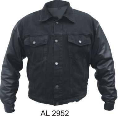 AL2952 Leather sleeve denim Motorcycle Jacket