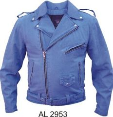 AL2953 Blue Denim Motorcycle Jacket