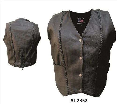 AL2352 Vertical Braided Leather Vest