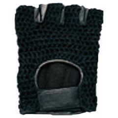 AL3003-Black Mesh Leather Fingerless Glove