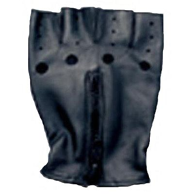 AL3006-Black Leather Fingerless Zippered Gloves