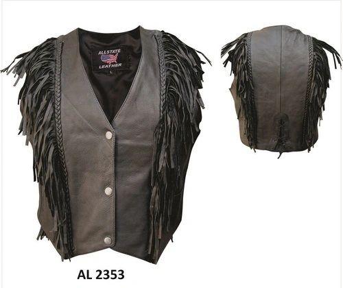 AL2353-Vertical Fringed Leather Vest