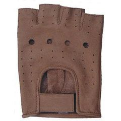 AL3010-Brown Leather Fingerless Gloves