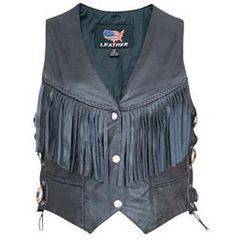 AL2354-Black Fringed Leather Vest