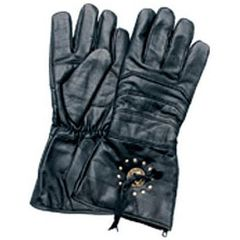 AL3050-Black Leather Gauntlet Glove with Concho's