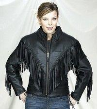 Womens Soft Leather Fringed Motorcycle Jacket