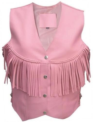 Ladies Pink leather vest fringe, braid and side laces