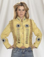 Ladies Tan Western Motorcycle Jacket