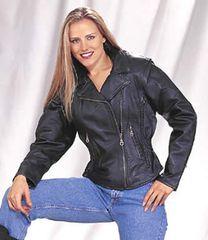 Ladies Cowhide Braided Motorcycle Jacket