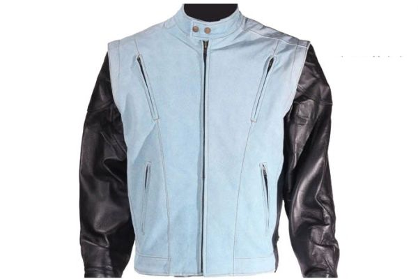 Mens Genuine Leather Jacket With Denim Look