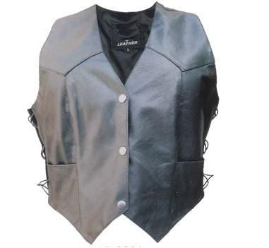 Ladies Basic Lambskin Leather Vest with side laces