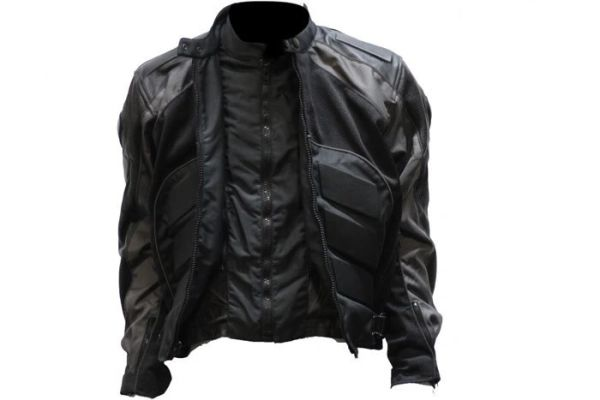 Men's Grey nylon padded armor Motorcycle Jacket
