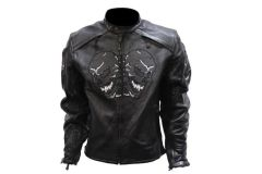 Men's Premium Leather Racer Jacket With Skulls