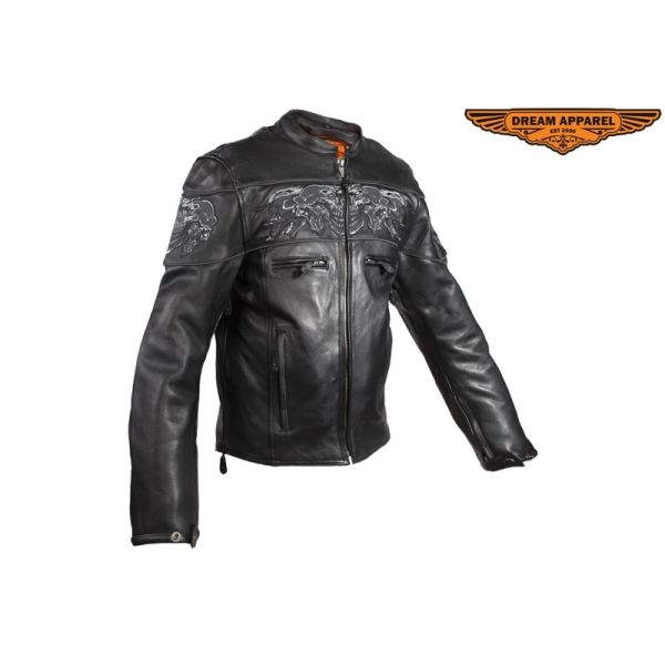 Men's Leather Concealed Carry Racing Jacket with Reflective Skull
