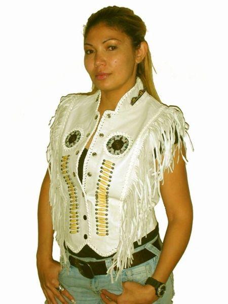 Ladies Bone and Beads Motorcycle Vest