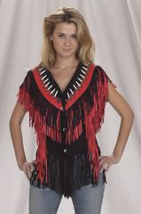 Ladies Red Fringe Motorcycle Vest
