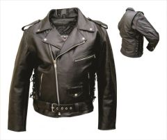Men's Basic Motorcycle Jacket with Side Laces