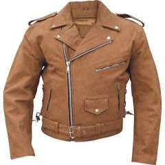 AL2015-Men's Basic Brown Leather Motorcycle jacket