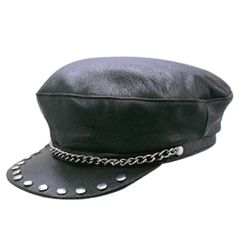 AL3226-Leather Bikers Captain Cap