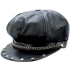 AL3227-Classic Black Leather Bikers Cap