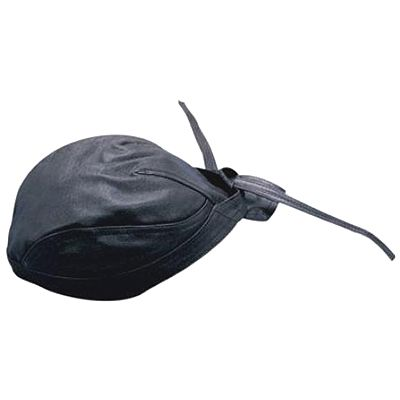AL3230-Plain Black Leather Skull Cap