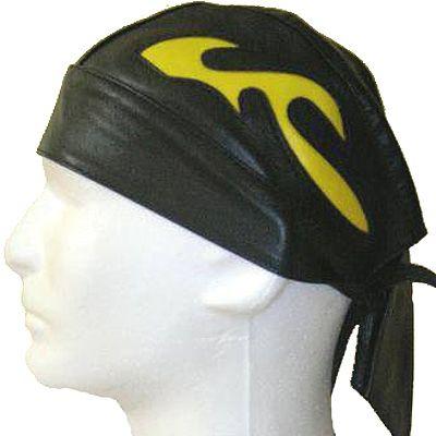 AL3232-Black Leather Yellow Flame Skull Cap