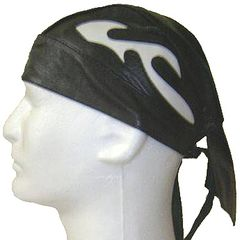 AL3234-Black Leather White Flame Skull Cap