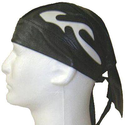 AL3234-Black Leather White Flame Skull Cap