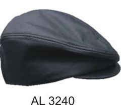 AL3240-Black Leather Plain Ascot Cap