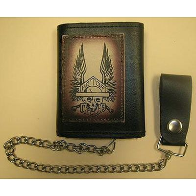 AL3271-Skeleton Wings Tri-fold Biker Wallet
