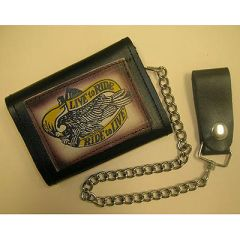 AL3273-Live to Ride Leather Tri-fold Biker Wallet