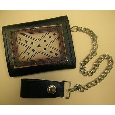AL3274-Rebel Flag Tri-fold Biker Wallet