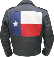 Men's Motorcycle Jacket with Texas Flag
