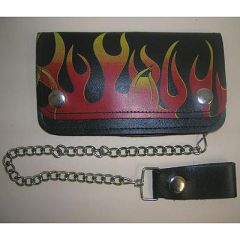 AL3280-Large Leather Flame Biker Wallet
