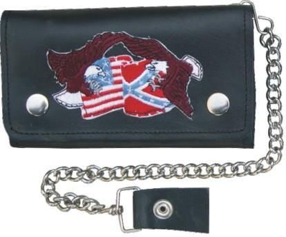 AL3282 Biker Wallet with Flags & Eagles
