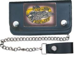 AL3291-Large Leather 8 Inch Chain Biker Wallet
