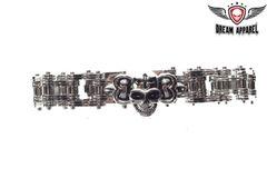 Stainless Steel Bracelet With one Skull In Center
