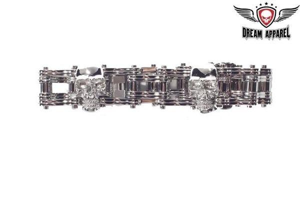 Stainless Steel Biker Bracelet With 3 Medium Skulls