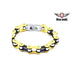 Black & Yellow Stainless Steel Motorcycle Chain Bracelet