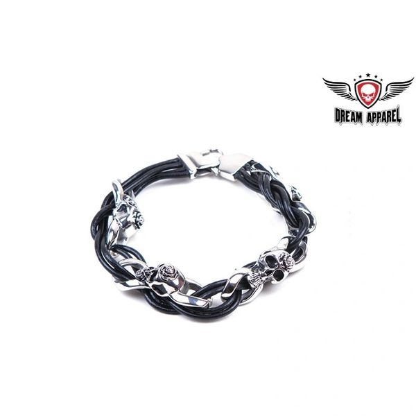 Stainless Steel Bracelet With Skulls, Rose, & Leather Lace