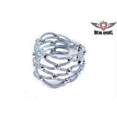 Womens Stainless Steel Bracelet With Stones