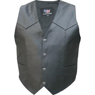 AL2203-Plain Buffalo Leather Motorcycle Vest