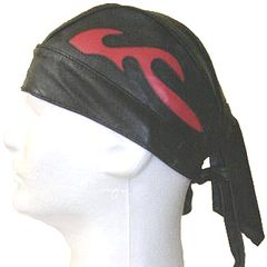 AL3231-Black leather Red Flame skull cap