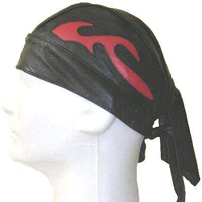 AL3231-Black leather Red Flame skull cap
