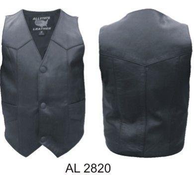 AL2820-Kids Plain Black Leather Vest