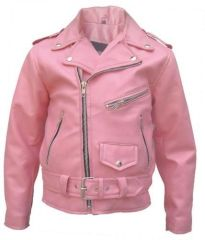 Girls Pink Motorcycle Leather Jacket