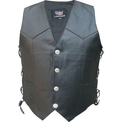 AL2211-Side Laced Black Leather Vest