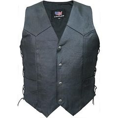 AL2213-Men's Basic Side Laced Biker Vest